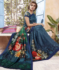 Blue Color Pashmina Designer Party Wear Sarees : Samika Collection  YF-51590