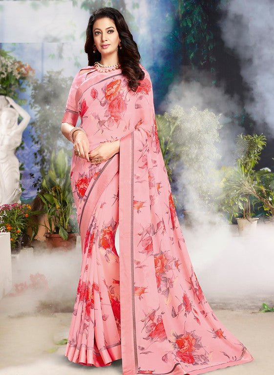 Pink Color Georgette Casual Wear Saree-Jiana Collection  YF#10510