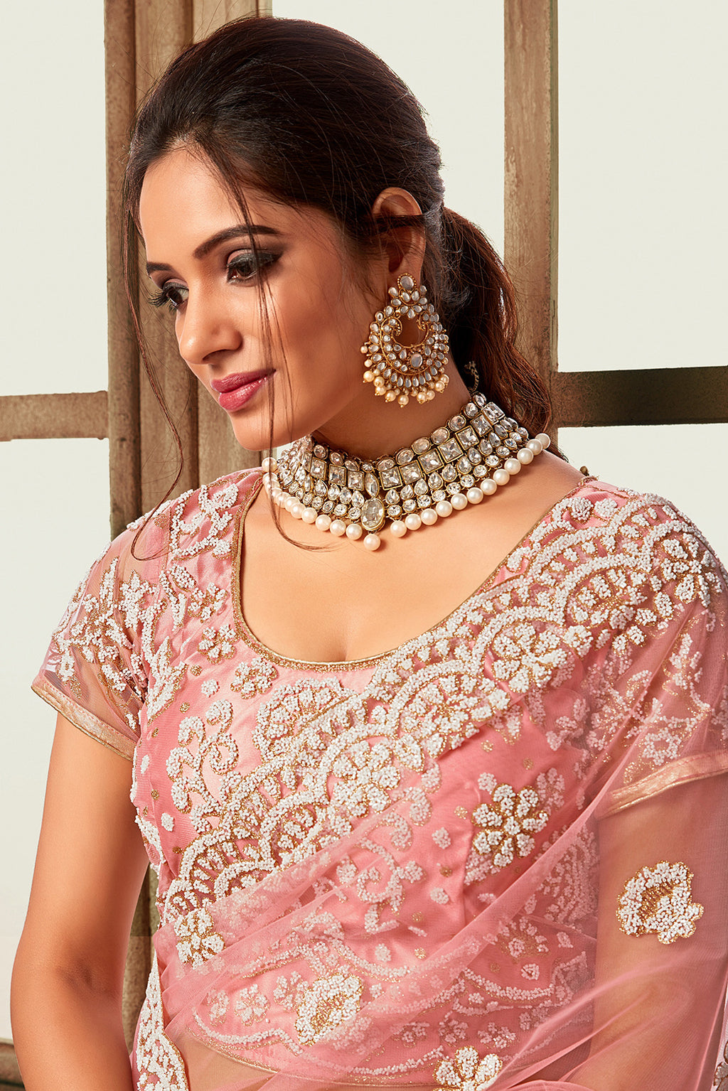 Pink Color Net Glamourous Festive Sarees NYF-6863