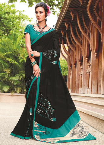 Black Color Georgette Party Wear Sarees : Mrudula Collection YF-69446