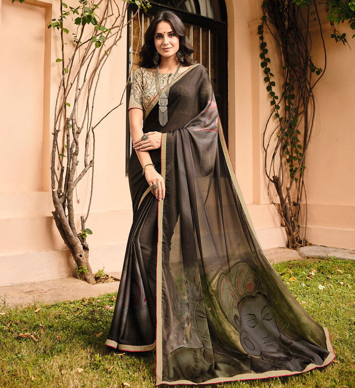 Brownish Black Color Georgette Casual Wear Saree-  Orchid Collection  YF#11477