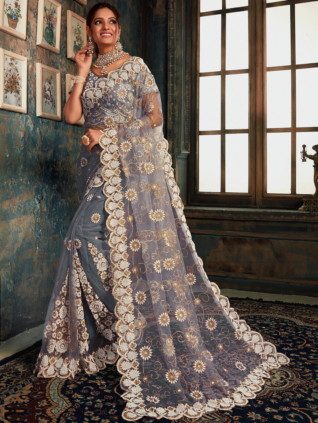 Grey Color Net Glamourous Festive Sarees NYF-6865