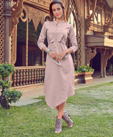 Light Pink Color Silk Cotton Readymade Party Wear Kurtis ( Sizes-38,40,42):  Shravita Collection YF-70479
