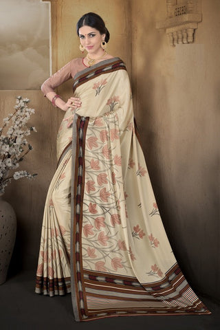 Light Coffee Color Crepe Casual Wear Sarees : Pratibha Collection  YF-43451
