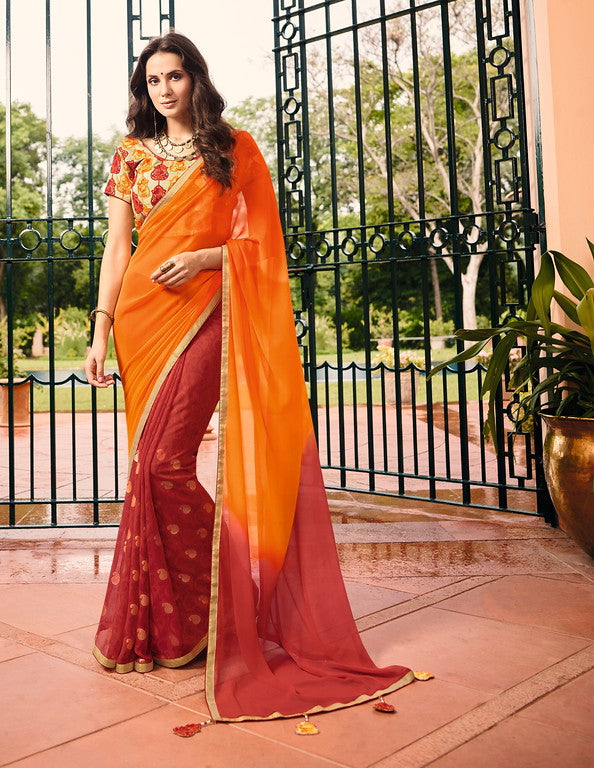 Yellow and Red Color Georgette Casual Wear Saree-  Orchid Collection  YF#11478