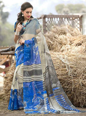 Cream & Blue Color Bhagalpuri Casual Wear Sarees : Shefali Collection  YF-50242