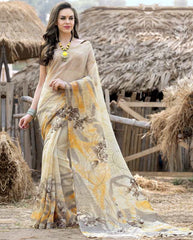 Cream Color Bhagalpuri Casual Wear Sarees : Shefali Collection  YF-50243
