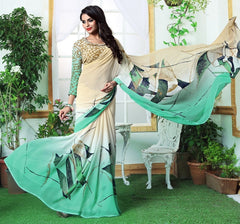 Light Coffee & Sea Green Color Georgette Casual Wear Sarees : Rinkita Collection  YF-46518