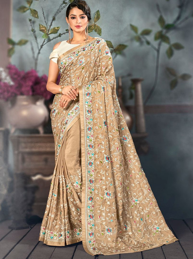 Beige Color Art Silk Designer Hand Weaving Sarees : Alankit Collection  NYF-2917 - YellowFashion.in