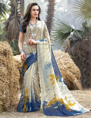 Cream & Blue Color Bhagalpuri Casual Wear Sarees : Shefali Collection  YF-50244