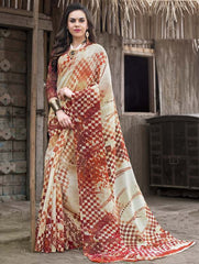 Cream & Orange Color Bhagalpuri Casual Wear Sarees : Shefali Collection  YF-50245