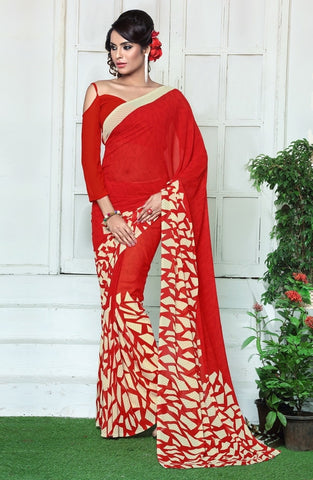 Red Color Georgette Casual Wear Sarees : Rinkita Collection  YF-46520