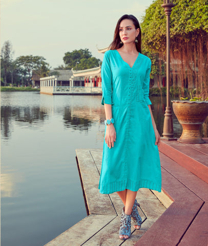 Firozi Color Silk Cotton Readymade Party Wear Kurtis ( Sizes-38,40,42):  Shravita Collection YF-70494