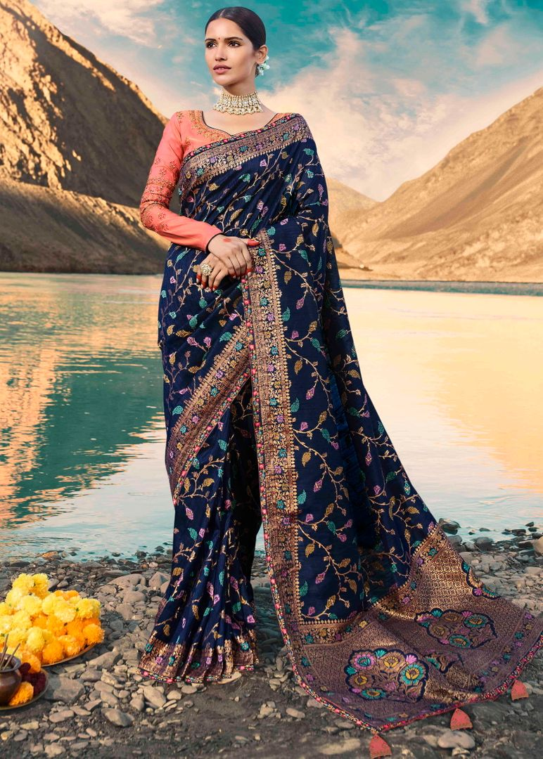 Blue Color Raw Silk Designer Bridal Sarees NYF-4147 - YellowFashion.in