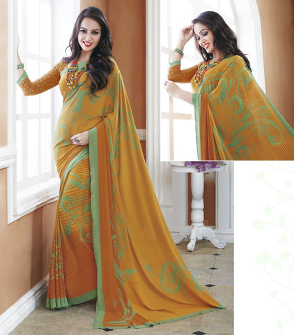 Mustard Yellow Color Crepe Office Wear Sarees : Shukti Collection  YF-47714