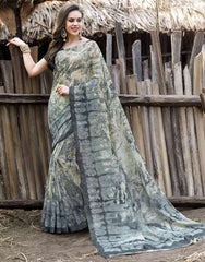 Grey Color Bhagalpuri Casual Wear Sarees : Shefali Collection  YF-50246