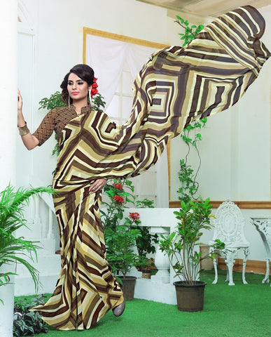Cream & Brown Color Georgette Casual Wear Sarees : Rinkita Collection  YF-46521
