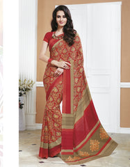 Red Color Crepe Office Wear Sarees : Shukti Collection  YF-47719