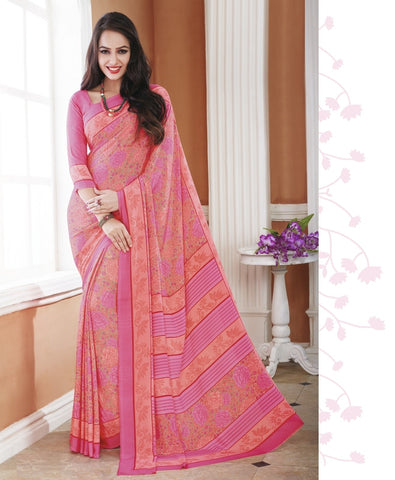 Pink Color Crepe Office Wear Sarees : Shukti Collection  YF-47720
