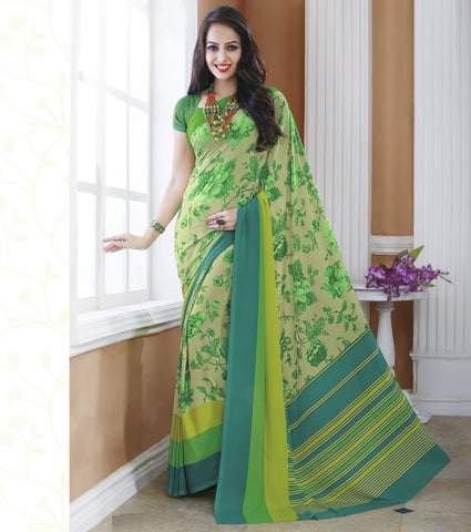 Green Color Crepe Office Wear Sarees : Shukti Collection  YF-47721