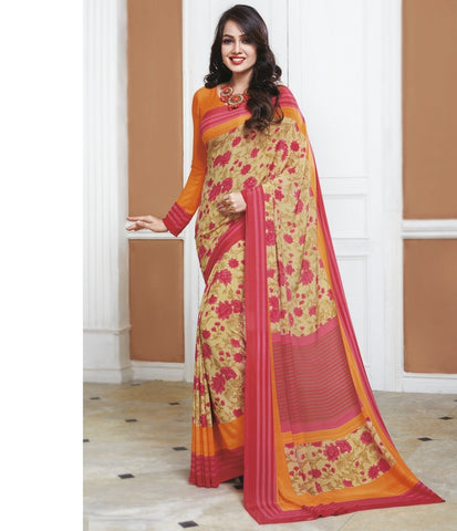 Pink Color Crepe Office Wear Sarees : Shukti Collection  YF-47722