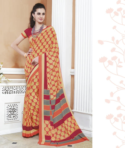 Yellow Color Crepe Office Wear Sarees : Shukti Collection  YF-47723