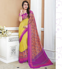 Yellow & Pink Color Crepe Office Wear Sarees : Shukti Collection  YF-47725