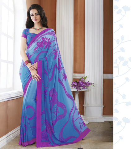 Blue & Pink Color Crepe Office Wear Sarees : Shukti Collection  YF-47726