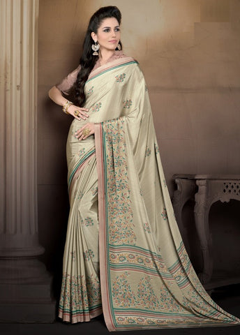 Light Coffee Color Crepe Casual Wear Sarees : Pratibha Collection  YF-43458