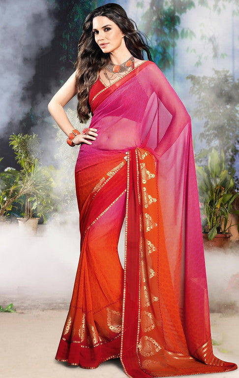 Pink and Orange Color Georgette Casual Wear Saree-Jiana Collection  YF#10521