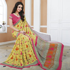 Yellow Color Crepe Office Wear Sarees : Shukti Collection  YF-47727