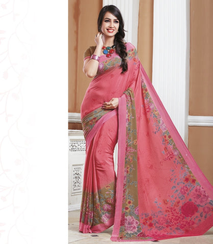 Pink Color Crepe Office Wear Sarees : Shukti Collection  YF-47729