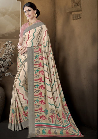 Light Coffee Color Crepe Casual Wear Sarees : Pratibha Collection  YF-43459
