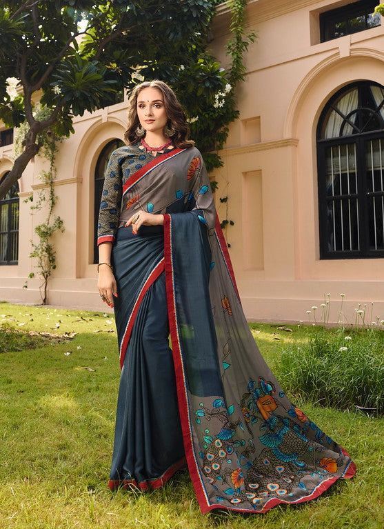 GreyColor Georgette Casual Wear Saree-  Orchid Collection  YF#11482