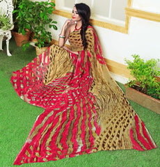 Pink & Brown Color Georgette Casual Wear Sarees : Rinkita Collection  YF-46524