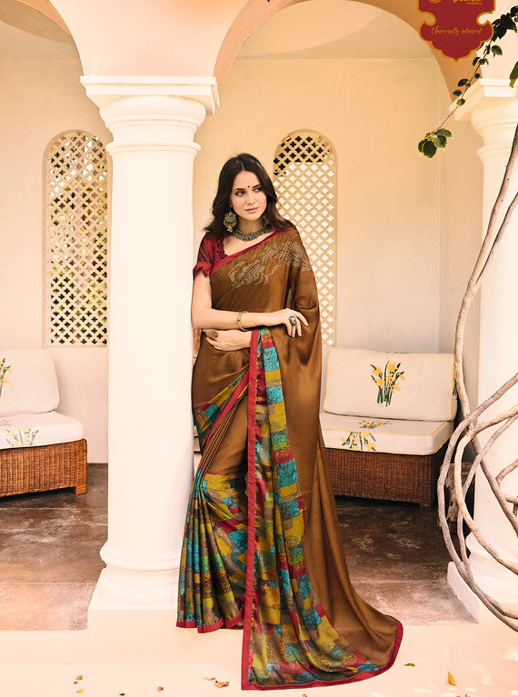 BrownColor Satin Casual Wear Saree-  Orchid Collection  YF#11483