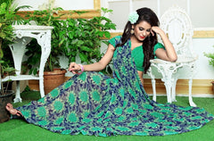 Green & Blue Color Georgette Casual Wear Sarees : Rinkita Collection  YF-46525