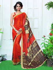 Orange Color Georgette Casual Wear Sarees : Rinkita Collection  YF-46526