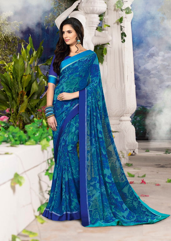 Light and Dark Blue Color Georgette Casual Wear Saree-Jiana Collection  YF#10525