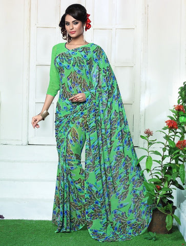 Green & Blue Color Georgette Casual Wear Sarees : Rinkita Collection  YF-46527