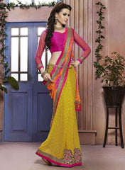 Yellow & Orange Color Georgette Festival & Function Sarees : Rangreli Collection  YF-27348