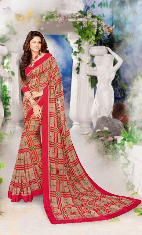 Beige and Pink Color Georgette Casual Wear Saree-Jiana Collection  YF#10527