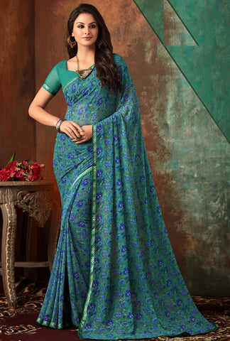 Green & Blue Color Georgette Kitty Party Sarees : Banhi Collection YF-70797