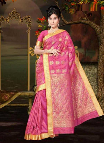 Shades of Pink Color Malai Silk Designer Sarees : Tehzeeb Collection  YF-24024