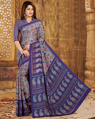 Blue Color Crepe Casual Wear Sarees : Nahir Collection  YF-56326
