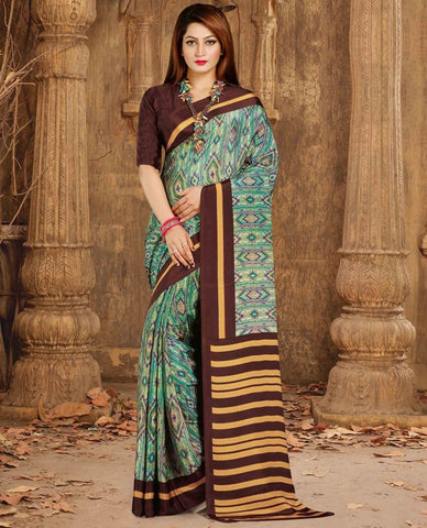 Green & Brown Color Crepe Casual Wear Sarees : Nahir Collection  YF-56327