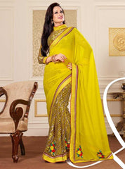 Yellow  Colour  Wrinkle chiffon  Material Designer Sarees : Heer Collection -  YF-14499