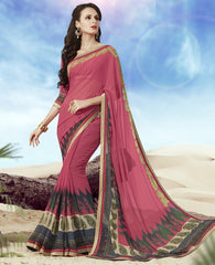 Gajjaria Color Georgette Casual Party Sarees : Kirti Collection  YF-31768