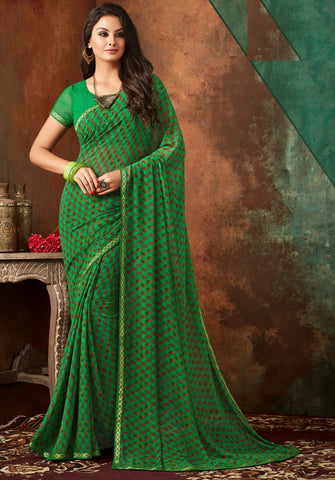 Green Color Georgette Kitty Party Sarees : Banhi Collection YF-70801