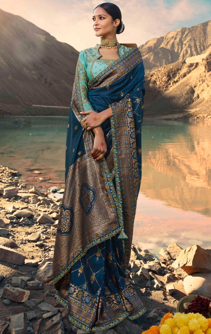 Blue Color Raw Silk Designer Bridal Sarees NYF-4150 - YellowFashion.in